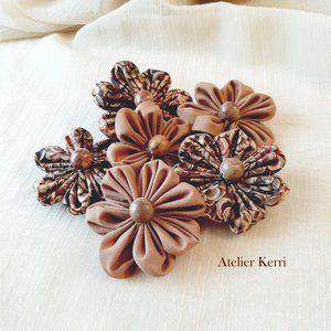 6pc Autumn Daisy Fabric Flower Set, Decor, Craft